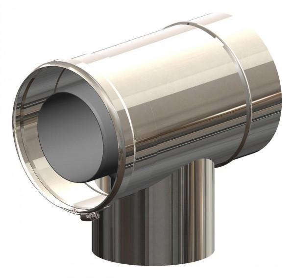 T-Stück geeignet für Abgaskaskaden - LAS doppelwandig aus PP/Edelstahl blank
