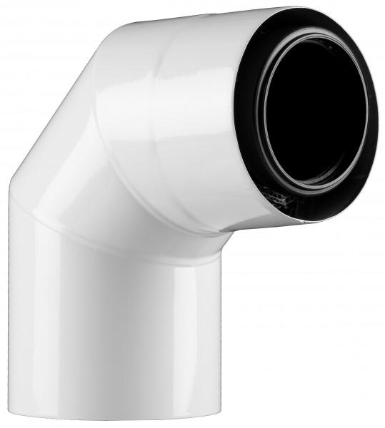 87° Abgasbogen - LAS doppelwandig aus PP/Edelstahl weiß