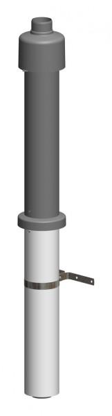 Dachhochführung schwarz 650 mm - LAS doppelwandig aus PP/Edelstahl weiß