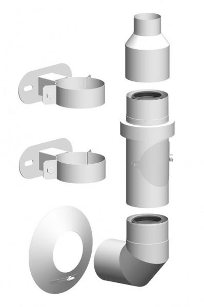 Komplett-Set Außenwand - LAS doppelwandig aus PP/Edelstahl weiß