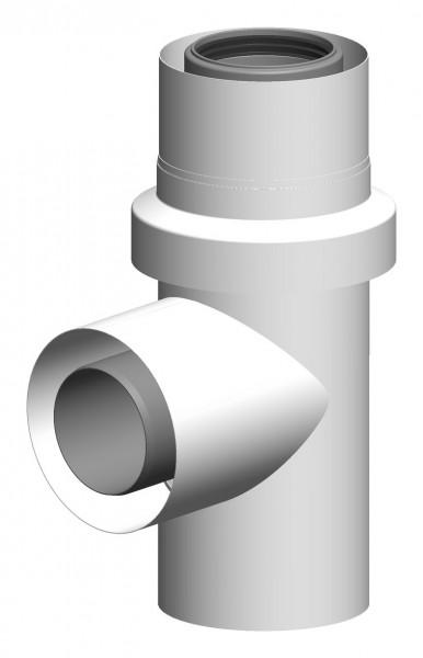 Anschluss T-Stück für Mehrfachbelegung mit Zuluftansaugung - LAS aus PP/Edelstahl weiß