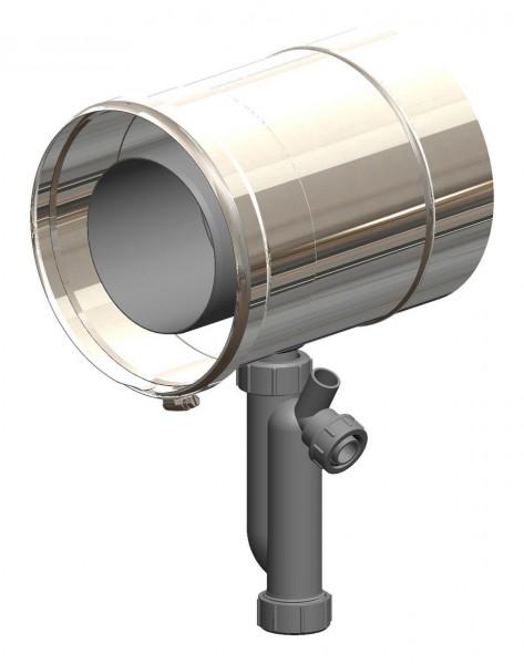 Kondensatablauf mit Siphon - LAS doppelwandig aus PP/Edelstahl blank