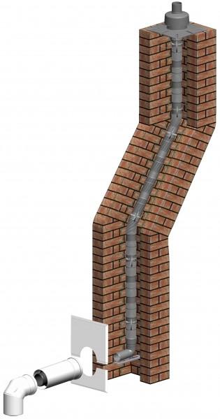 Komplett-Set Schacht inkl. Verbindungsleitung und Steigleitung flexibel - LAS doppelwandig aus PP/PP