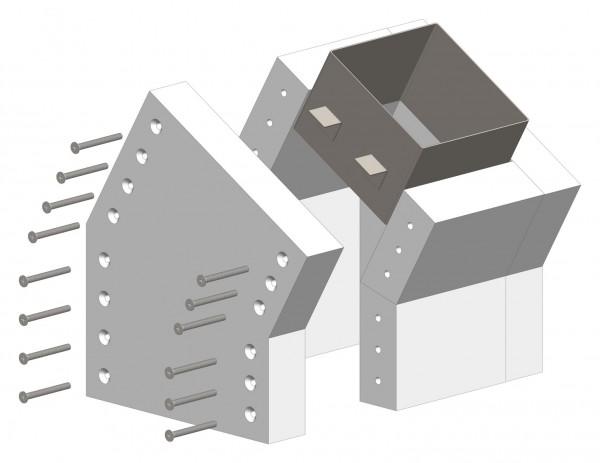 30°-Schachtwinkel F90, einseitig offen, inkl. Steckverbinder