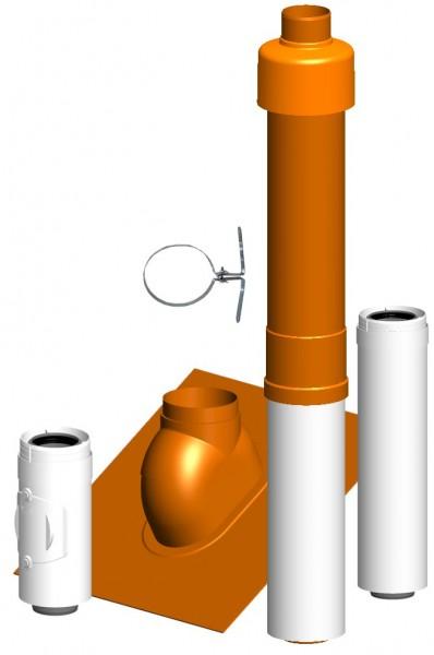 Komplett-Set Dachheizzentrale rot - LAS doppelwandig aus PP/PP