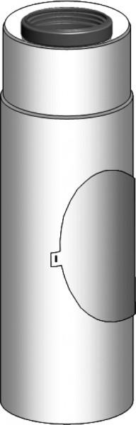 Abgasrohr gerade mit Revision - LAS doppelwandig aus PP/Edelstahl weiß