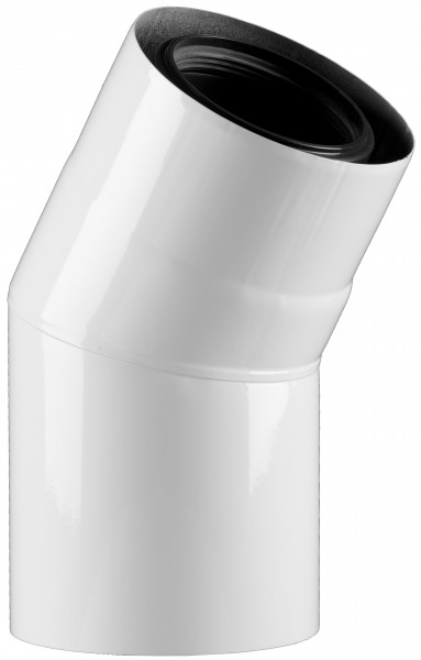 30° Abgasbogen - LAS doppelwandig aus PP/Edelstahl weiß