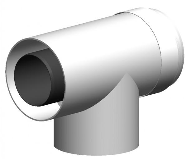 T-Stück geeignet für Abgaskaskaden - LAS doppelwandig aus PP/PP