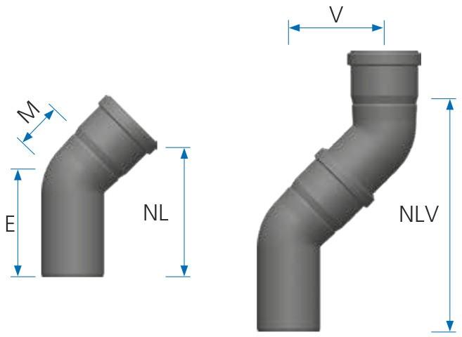 Maßtabelle 45° Abgasbogen - LAS doppelwandig aus PP/PP