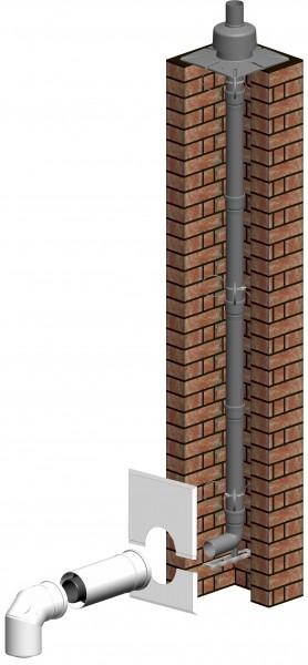 Komplett-Set Schacht inkl. Verbindungsleitung und Steigleitung starr - LAS doppelwandig aus PP/PP