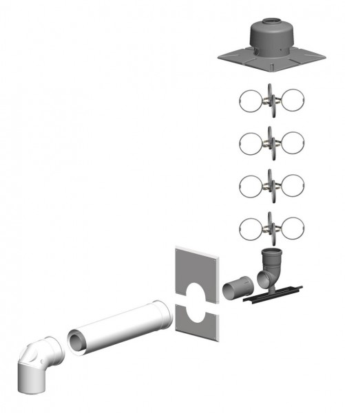 Schacht-Set inkl. Verbindungsleitung - Schachteinführung schraubbar - LAS doppelwandig aus PP/Stahl