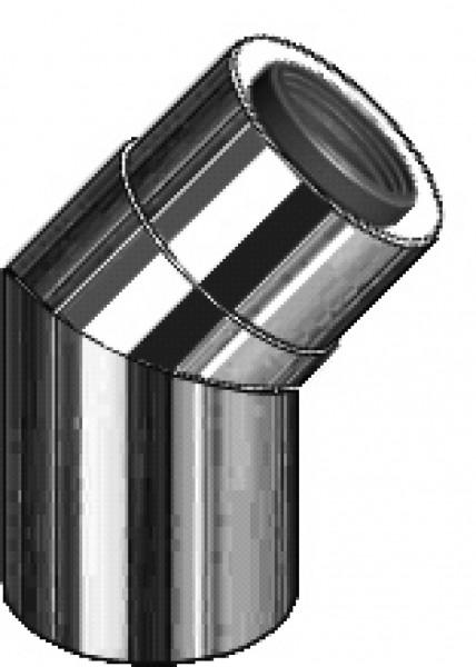 45° Abgasbogen - LAS doppelwandig aus PP/Edelstahl blank