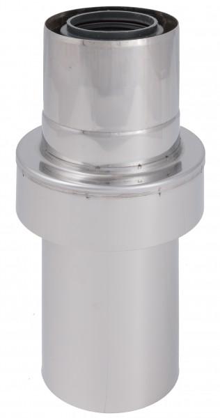 Abgasrohr gerade mit Zuluftansaugung - LAS doppelwandig aus PP/Edelstahl blank