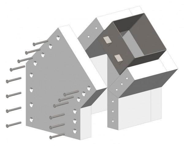 45°-Schachtwinkel F90, einseitig offen, inkl. Steckverbinder