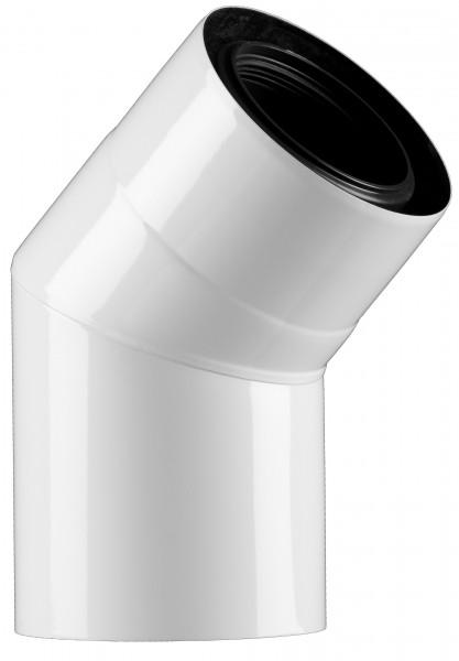 45° Abgasbogen - LAS doppelwandig aus PP/Edelstahl weiß