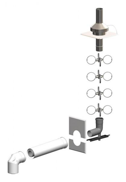 Schacht-Set inkl. Verbindungsleitung - Mündung Edelstahl - LAS doppelwandig aus PP/Stahl