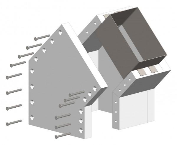 45°-Schachtwinkel F30, einseitig offen, inkl. Steckverbinder