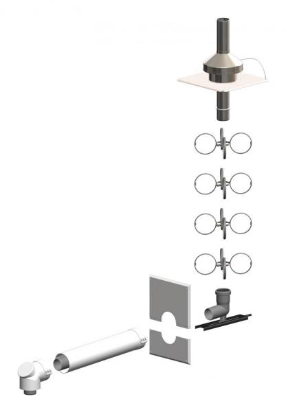Schacht-Set inkl. Verbindungsleitung - Mündung Edelstahl - LAS doppelwandig aus PP/PP