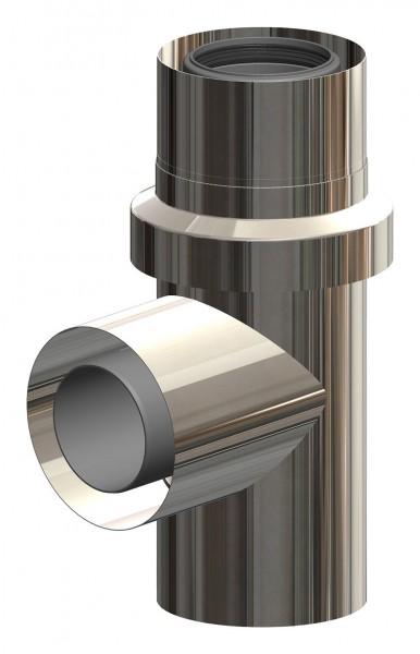Anschluss T-Stück für Mehrfachbelegung mit Zuluftansaugung - LAS aus PP/Edelstahl blank