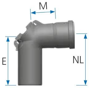 Maßtabelle 87° Abgasbogen mit Revision - einwandig aus PP