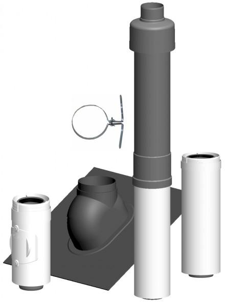 Komplett-Set Dachheizzentrale schwarz - LAS doppelwandig aus PP/PP