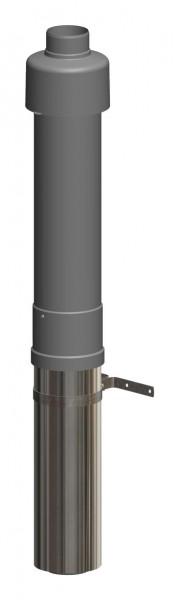 Dachhochführung schwarz 650 mm - LAS doppelwandig aus PP/Edelstahl blank