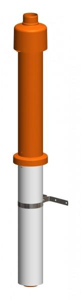 Dachhochführung ziegelrot 650 mm - LAS doppelwandig aus PP/Edelstahl weiß